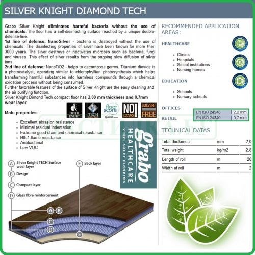 Декор - Silver Knight, Diamond Tech, антибактериален винил на рула, 2.0x0.7mm, PVC от Grabo